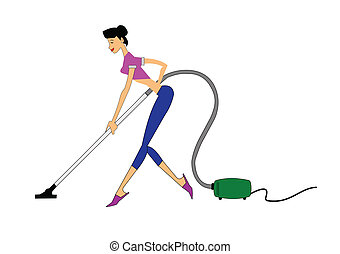 mother vacumming - lady using vacuum to clean house in...