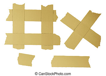 Masking Tape elements - Masking tape torn strips of isolated...