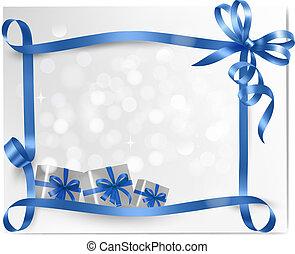 Holiday background with blue gift bow with gift boxes  Vector
