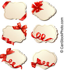 Set of beautiful cards with bows - Set of beautiful cards...