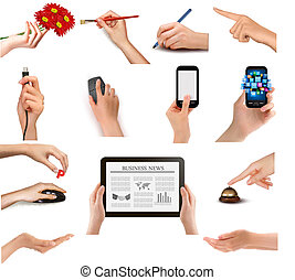 Set of hands holding different business objects Vector...