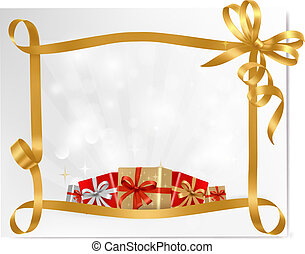 Holiday background with gift bow with gift boxes  Vector