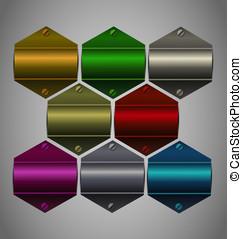 Vector metallic sticker collection