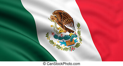Flag Of Mexico - 3d rendered and waving flag of mexico