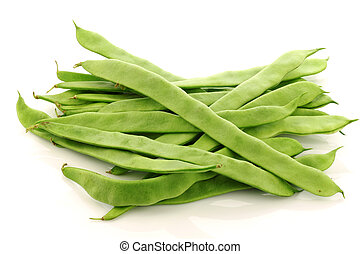 bunch of fresh string beans on a white background