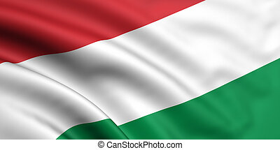 Flag Of Hungary - 3d rendered and waving flag of hungary