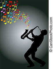 saxophone player - silhouette of musician playing a...