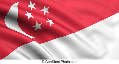 Flag Of Singapore - 3d rendered and waving flag of singapore