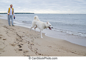 The woman with a dog walks along coast of Baltic sea