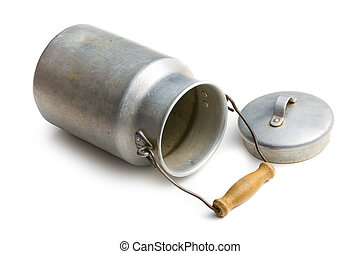aluminium milk can on white background