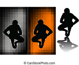Stock Illustration - black silhouettes of a man sitting