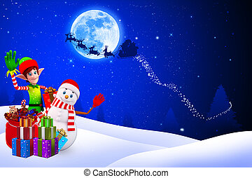 snow man with gift box - 3d art illustration of snow man...