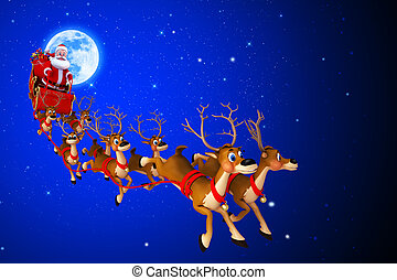 santa claus with his sleigh - 3d art illustration of santa...