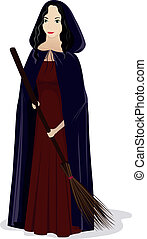 witch with broom - vector illustration or the witch with...