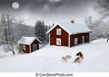 old red cottages with moon and dogs - old red cottages,...