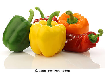 colorful mixed paprikas capsicum on a white background