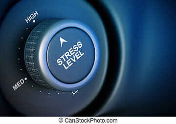 stress level button with low, medium and high word, black...