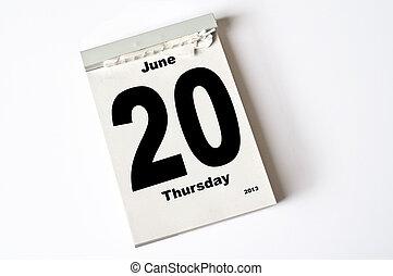 20 June 2013 - calendar sheet