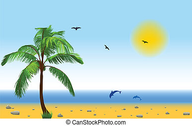 Sea and coconut palm. Vector