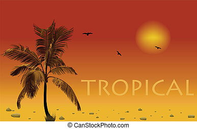 Sea and coconut palm. Vector sunset
