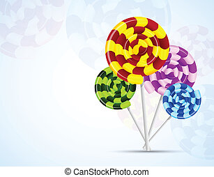 Background with candies - Blue background with colorful...