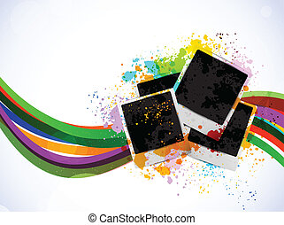 Bright background with photo frames. Abstract illustration