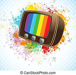 Background with tv - Bright colorful background with retro...