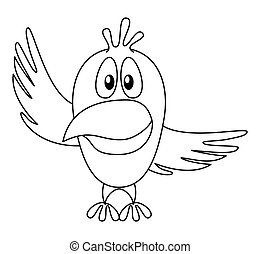 Bird with pointing wing, contour - Cheerful cartoon bird...
