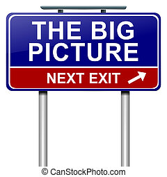 The big picture concept - Illustration depicting a roadsign...