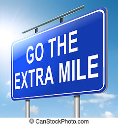 Go the extra mile - Illustration depicting a roadsign with a...