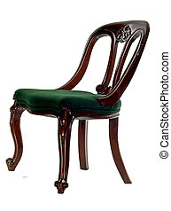 antique mahogany chair - old carved mahogany chair isolated