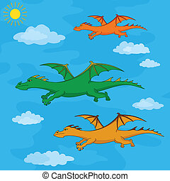 Dragons flies in the blue sky