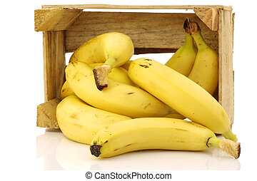 fresh bananas in a wooden crate - fresh bananas in a wooden...