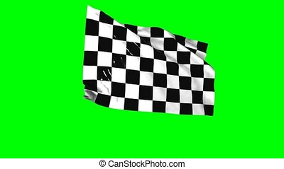 Checkered flag - Waving checkered flag animation with green...