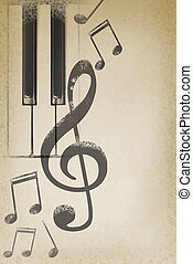 musical grunge background with piano keys and notes