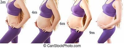 fitness body of slim sport woman and pregnant woman isolated...
