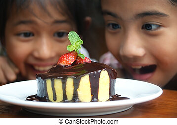 Two girls and cake 1