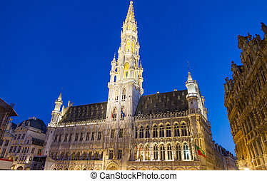 Detailed view of Grand Place in Brussels, Belgium night shot...