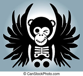 monkey with wings - illustration