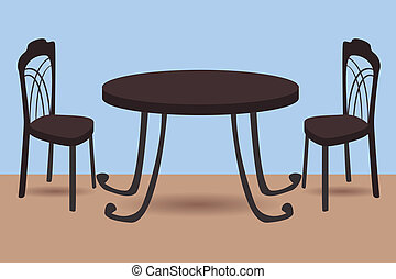 table and chairs - vector illustration of table and chairs
