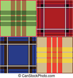 set of seamless plaid fabric patterns