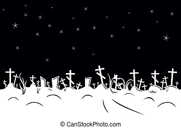 negative cemetery border - vector seamless negative cemetery...