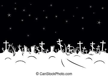 cemitério, borda, negativo