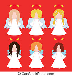 set of simple angels - set of vector christmas simple angels...