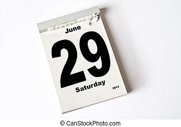 29. June 2013 - calendar sheet