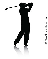 Golfer silhouette with Shadow - Vector illustration of a...