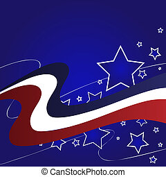 Red White Blue Star Background - Graphic illustration of red...