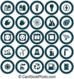 Power and energy icon set - Electricity, power and energy...