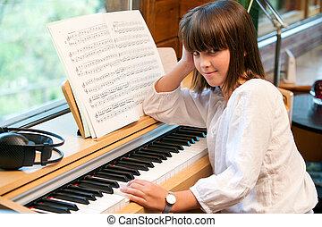 retrato, lindo, poco, niña, piano