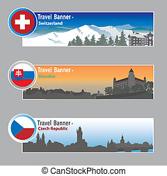 Travel banners: Switzerland, Slovakia and Chech